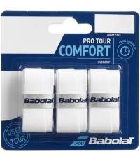 Допълнителен грип BABOLAT PRO TOUR OVERGRIP 3 PACK WHITE /БЯЛ/