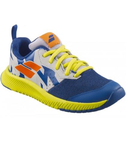 Детски тенис маратонки Babolat Pulsion All Court Junior Dark Blue/Sulphur Spring (Тъмно-сини)