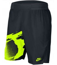 ШОРТИ NIKE MEN'S FLEX ACE NY FIREBALL SLAM SHORT 9 INCH BLACK/HOT LIME /ТИАФО/ 2020
