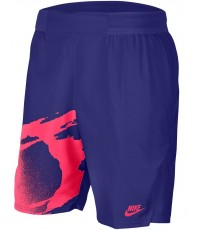 ШОРТИ NIKE MEN'S FLEX ACE NY FIREBALL SLAM SHORT 9 INCH MARINE/SOLAR RED /DIMITROV/ 2020