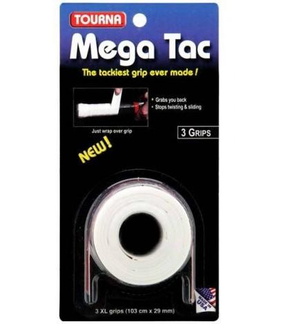 TOURNA MEGA TAC OVERGRIPS 3 Per Pack White /Бял/