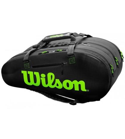 Тенис сак WILSON SUPER TOUR 3 COMP BAG x 15 BLACK/GREEN /ЧЕРЕН/